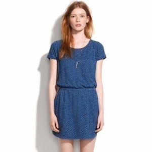 Madewell Hi-Line Dotted Indigo Ink Tee Dress